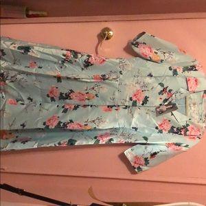 Viola M Satin Finish Floral Vintage Style Dress